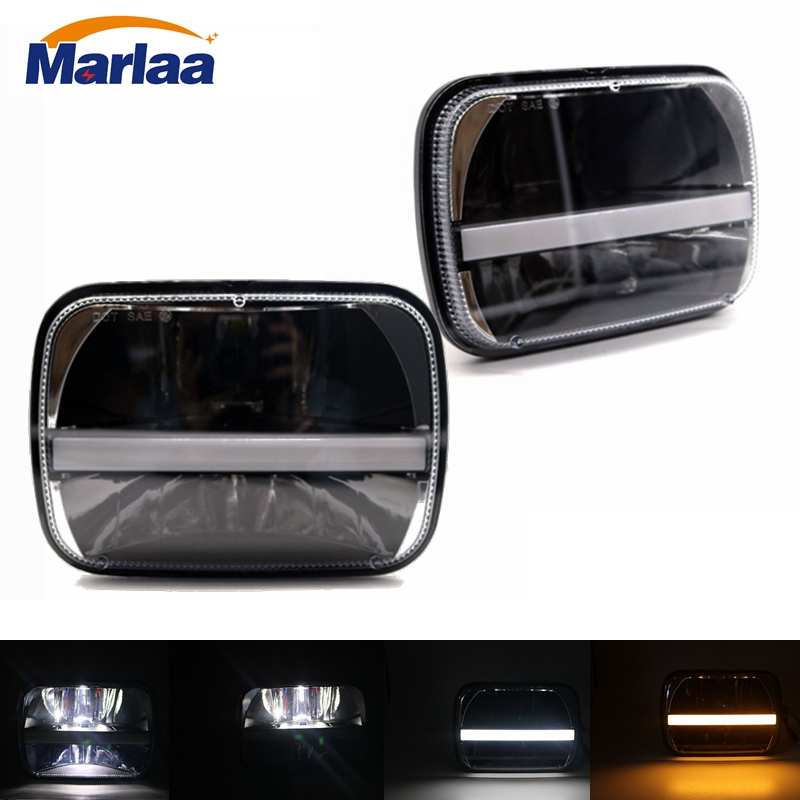 Marlaa 7x 6 5 x 7 inch Black Projector LED Headlights for Jeep Wrangler YJ Cherokee XJ H6054 H5054 H6054LL 69822 6052 6053 marlaa 7x 6 5 x 7 inch black projector led headlights for jeep wrangler yj cherokee xj h6054 h5054 h6054ll 69822 6052 6053