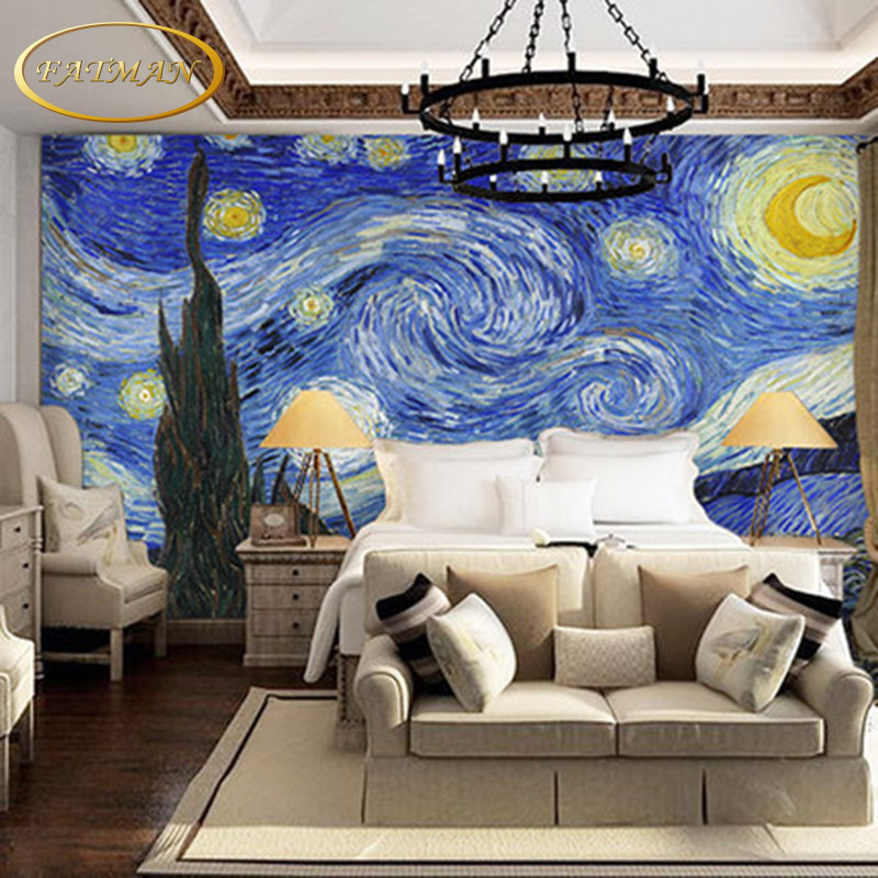 Custom 3D photo wallpaper world famous paintings wallpaper van Gogh ...