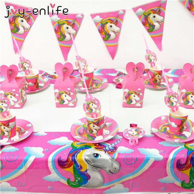 JOY-ENLIFE Unicorn Party Decoration Kids Cartoon Candy Popcorn Box Paper Plate Cup Set Baby  sc 1 st  AliExpress.com & JOY ENLIFE Unicorn Party Decoration Kids Cartoon Candy Popcorn Box ...