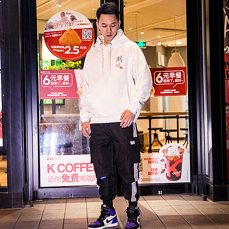HFNF 2019 casual black and white embroidery HOODIE hip hop street wear sweatshirt skateboard pullover men's hoodie(China)