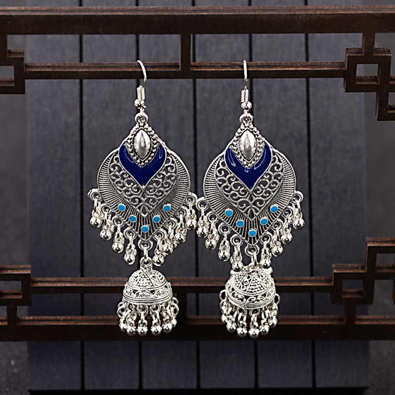 Amader Women's Water Drop Shape Earrings Silver Indian Birdcage Vintage Jhumka Jhumki Blue Earrings Orecchini Etnici HXE067