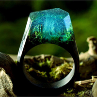 ERLUER 2017 Resin Secret Wood Rings Women Magic Forest Wooden Ring Men Jewelry Fashion Deep Blue