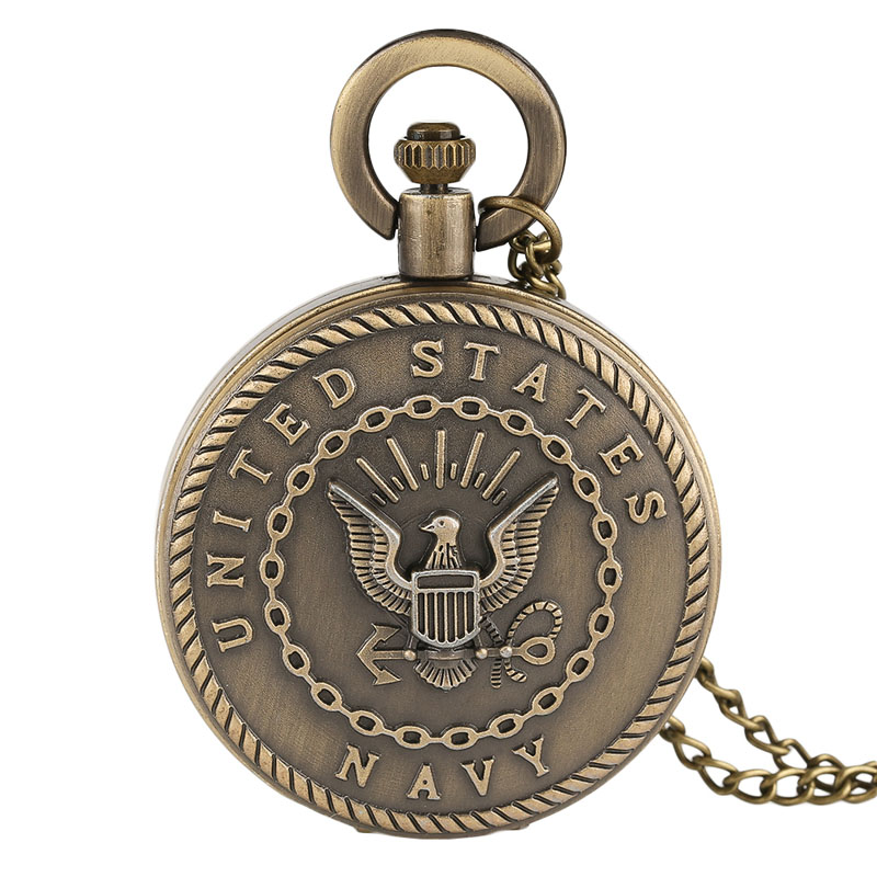 YISUYA Quartz Pocket Watch Bronze Carved United States Navy Eagle Necklace Clock Fine Chain Classical High Quality Gift Men