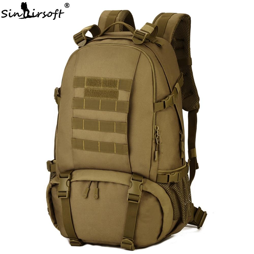 SINAIRSOFT Waterproof Nylon Military Tactics Backpack 40L Large Capacity Men 15 Inch Laptop Rucksack Travel Hike