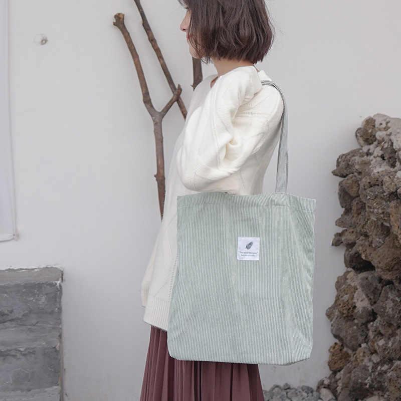 233dd2bcf746 ... Для женщин вельвет сумка-шоппер Женская парусиновая тканевая сумка  через плечо окружающей среды хранения сумки ...