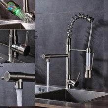 Кухня воды краны один носик Матовый никель кухня смеситель Одной ручкой на бортике