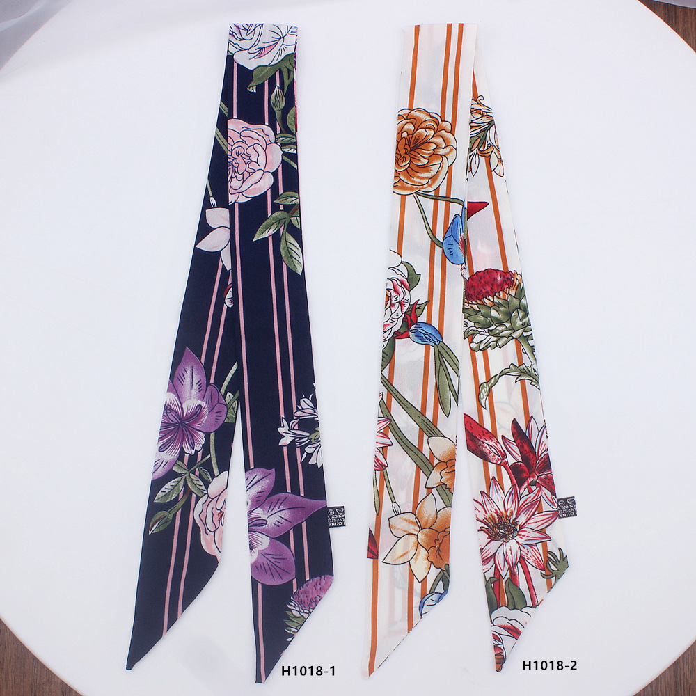 2019 Women Flower Printed Long Silk Scarf Small Size Long Skinny Neck Hair Silk Scarves Floral Bag Ribbons Head Scarfs Foulard