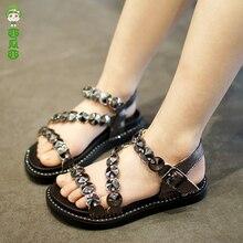 Girls Sandals Children's Shoes 2018 Summer New Diamond Princess Shoes Girl Beach Shoes Handmade Kids Shoes Sandalias