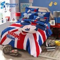 Disney Mickey Mouse Kids Bed Bedding Sets Cartoon Girls Duvet Cover Bedclothes Pillowcase Sheet 4PCS Children Soft Bed Linen Set