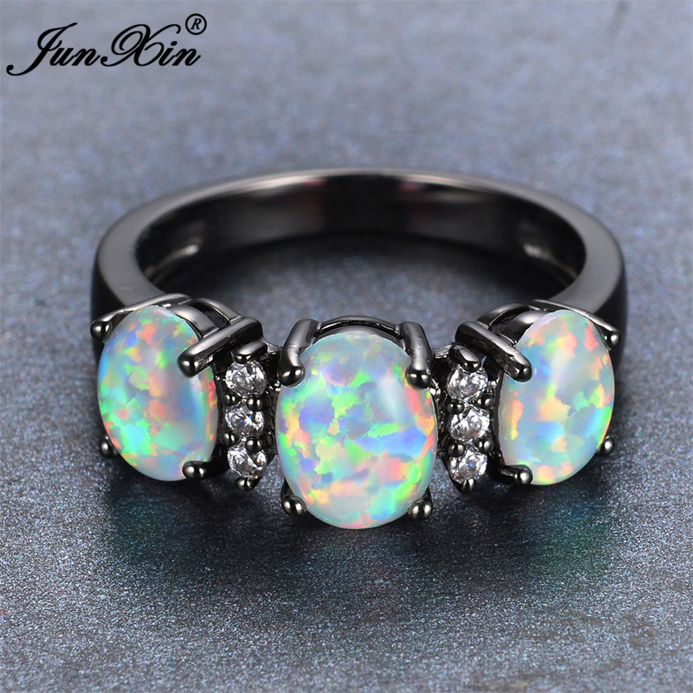 JUNXIN 2017 New Fashion White Fire Opal Engagement Ring