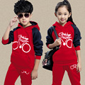 2016 New winter Girls Boys children clothing sets cotton long-sleeved track suit 2pcs clothes suit Children sets baby kid