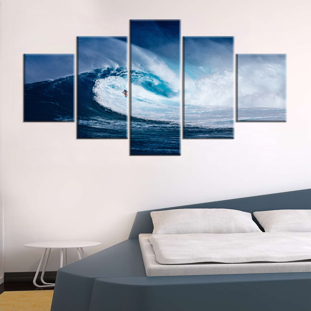 5 Panels Ocean Wave Wind Surfer Canvas Painting Home Decor for ...