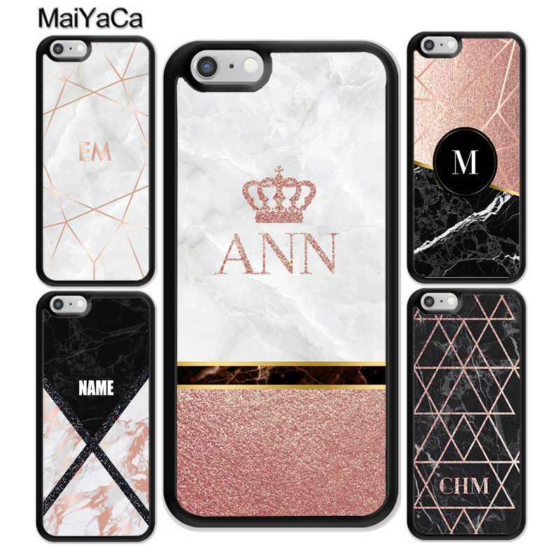 pretty nice e384d 108d6 MaiYaCa PERSONALISED ROSE GOLD MARBLE CUSTOM NAME INITIALS Soft Rubber  Phone Cases For iPhone 6S 7 Plus 8 X XR XS MAX 5 SE Cover
