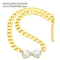 Neoglory MADE WITH SWAROVSKI ELEMENTS Crystal Rhinestone Pendant Necklace Bowknot Design14K Gold Plated New 2014 Gift