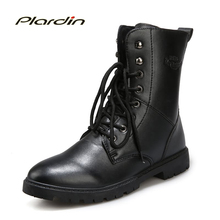 Plardin 2017 Fashion Winter motorcycle boots Comfortable Man Cross-tied Mid-calf Stitching Antiskid Shoes for men Knight boots