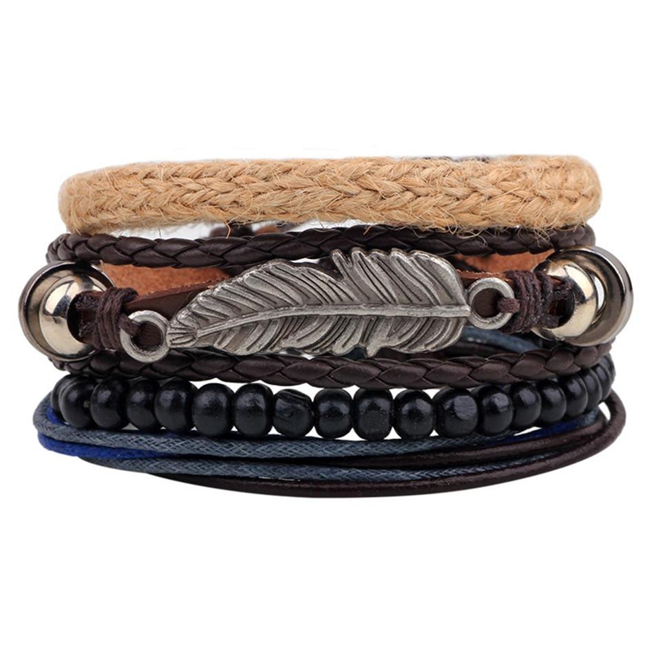 Vintage Tribal Bohemian Feather Bracelet Boho Silver Alloy Leaf Bracelet  Cuff Men Leather Braclet Femme Male