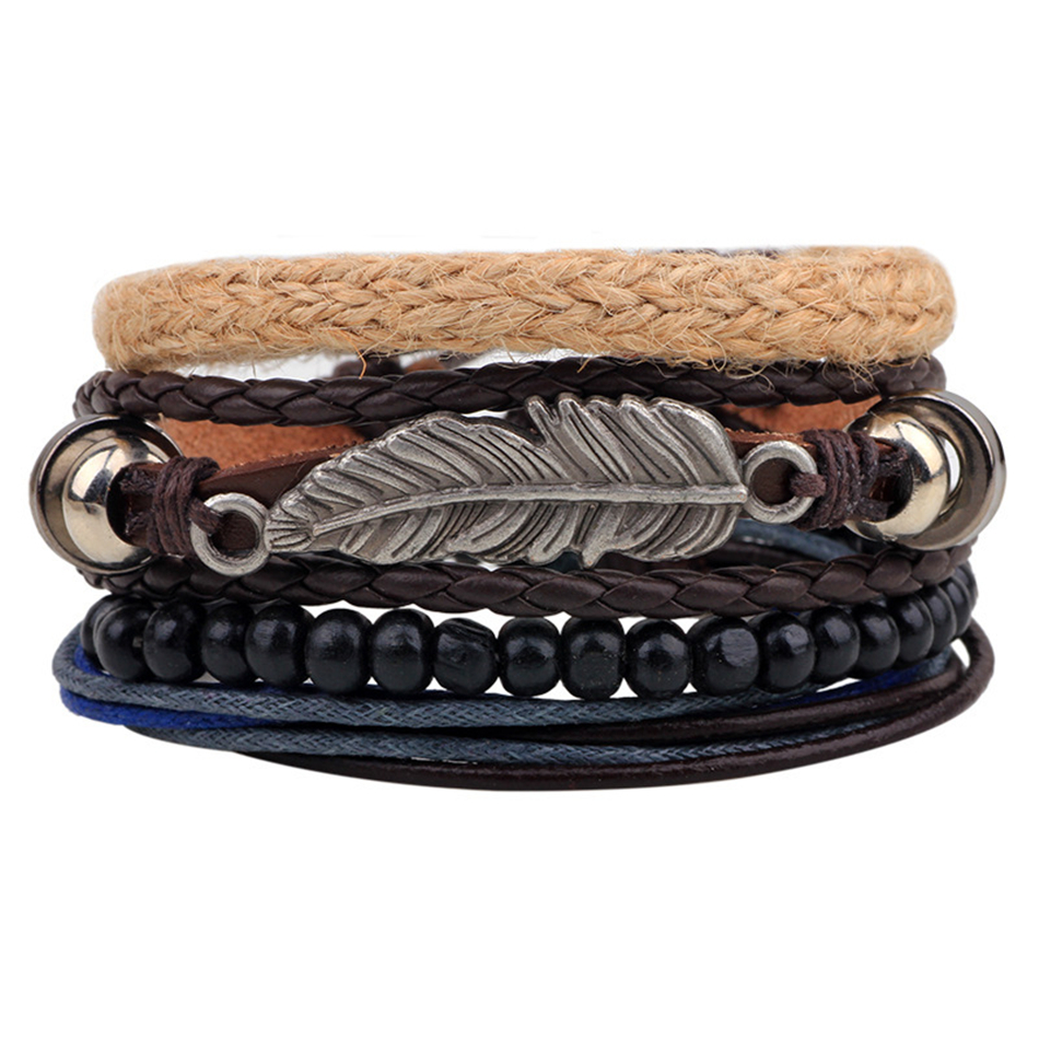 Vintage Tribal Bohemian Feather Bracelet Boho Silver Alloy Leaf Bracelet  Cuff Men Leather Braclet Femme Male