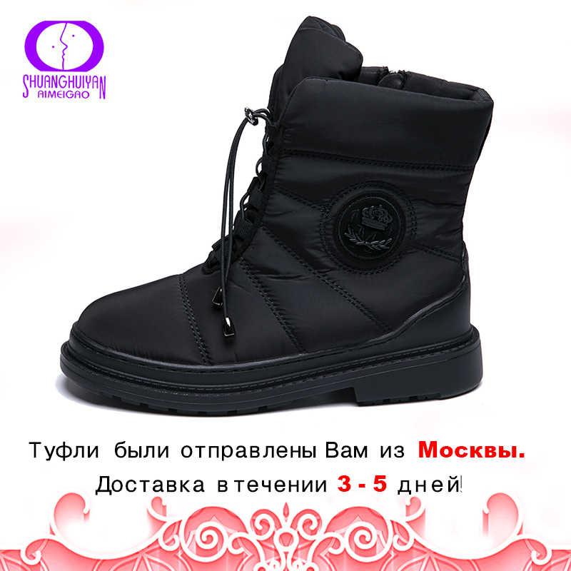 AIMEIGAO Yüksek Kalite Sıcak Kürk Kar Kış Kadın Botları Peluş Astarı su geçirmez botlar Platform Topuklu Kırmızı Siyah Kadın Ayakkabı