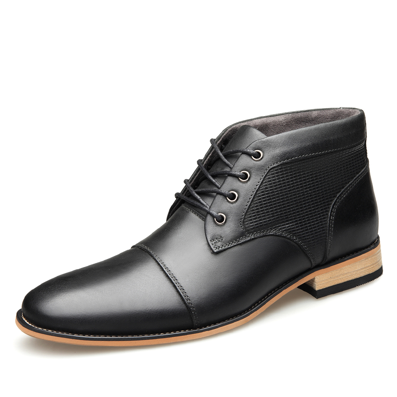 2019 Men s Cowhide Leather Boots Rubber Sole Wooden Heel Head Leather Brand Lacing Shoes 45