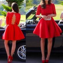 Sexy Red satin mini font b dresses b font 2016 long sleeves appliques short font b