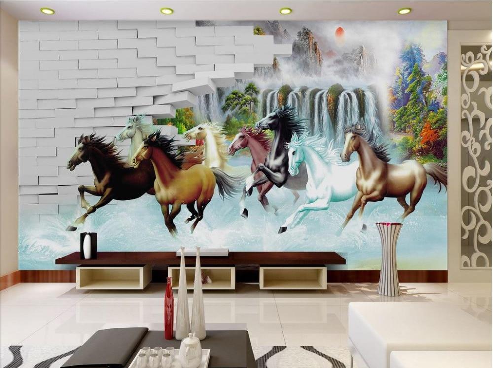 Custom 3d Photo Wall Paper Wall Horse 3d Wallpaper Tv