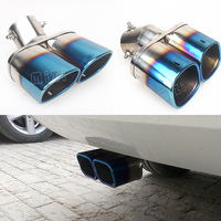 Universal 1 2 Double Tailpipe Dual Chorme CURVED Exhaust Tail Pipe End Trim Tip Muffler Finish