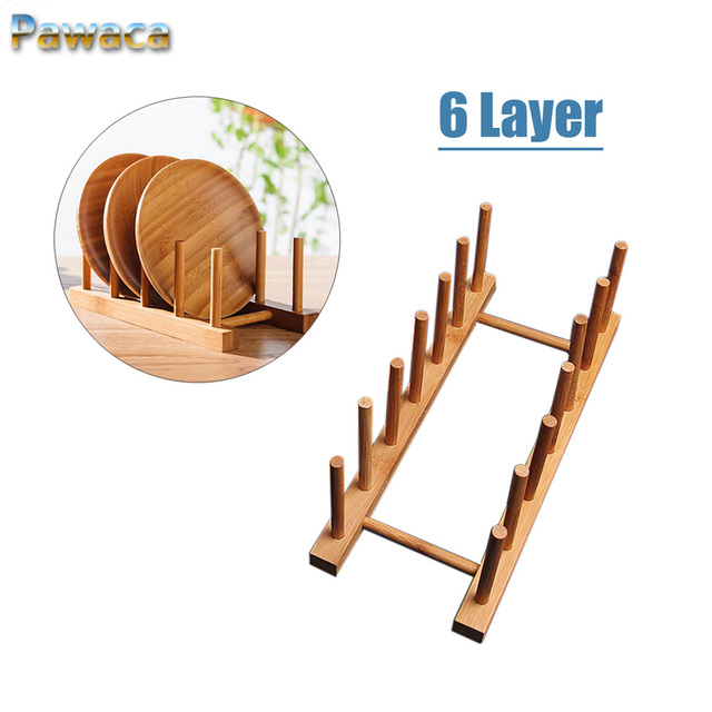 2018 Wooden Drainer Plate Stand Wooden Dish Plate Fold Rack Holder