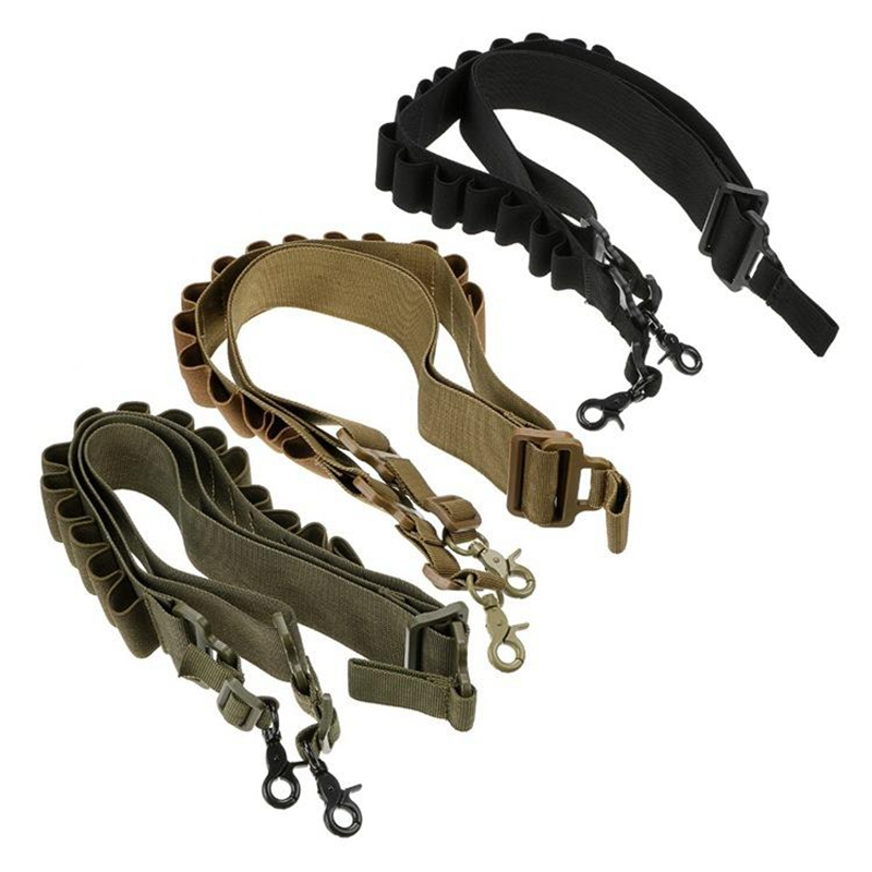 Tactical Hunting 2 Point Rifle Handgun Sling 15 Rounds Shell Ammo Holder Bandolier 12Ga 20Ga Pouches image