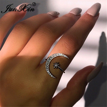 JUNXIN Boho Female Open Star Moon Rings For Women