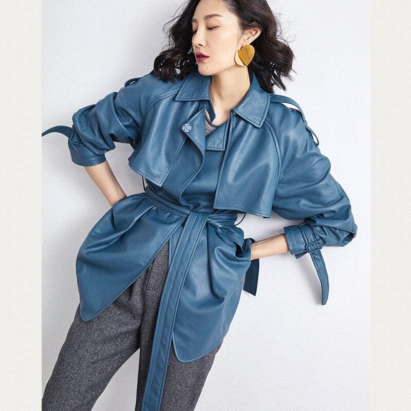 Donna Cappotti Reale della pelle di Pecora 2019 di Modo di Inverno della pelle di Pecora Cappotto di Pelle Femminile Giacca A Vento Genuino Lungo Cappotto Blu E Giallo