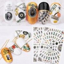 Наклейки для ногтей на доллар США, наклейки для ногтей, украшения для ногтей, наклейки для денег, маникюра, накладные ногти, аксессуары F523
