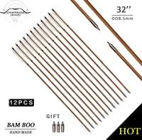 LongbowMaker 12PK Traditional Handmade White Feathers Bamboo Arrows Ali Bow Archery Nice Fletching Shape