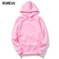 RUMEIAI 2018 New Pink Black Gray Red HOODIE Hip Hop Street Wear Sweatshirts Skateboard Men Woman