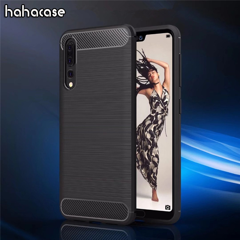 500pcs Brushed Carbon Fiber Anti-Knock Case For Huawei P20 Pro P10 9 8 Plus Lite 2016 2017 Case Soft TPU Silicone Shell Cover