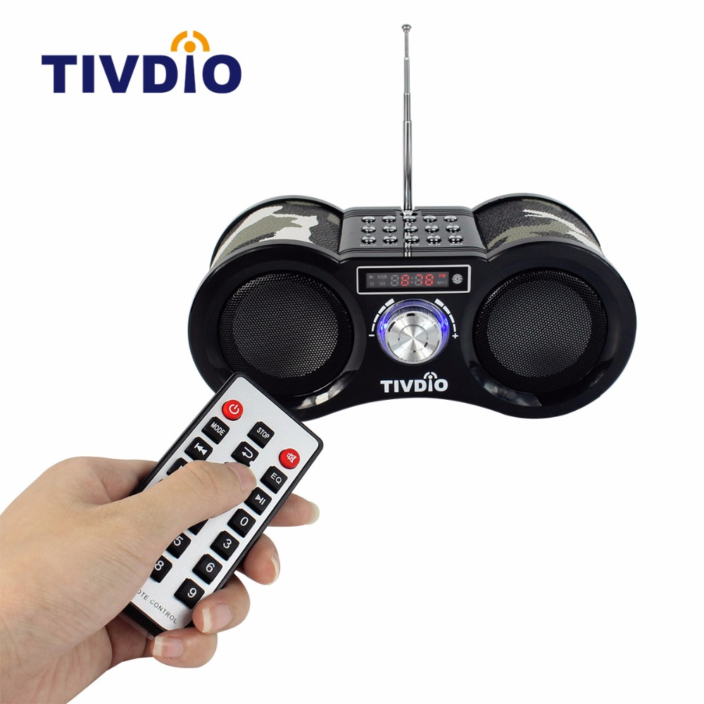 TIVDIO V-113 FM Radio Stereo Digital Radio Receiver Speaker USB Disk TF Card MP3 Music Player Camouflage + Remote Control F9203M l 288 portable fm radio stereo speaker mp3 music player double loudspeaker with tf card usb disk input gift for parents