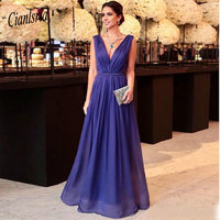 0533b9ee06 Elegant Chiffon A Line Evening Dresses For Women Sexy Backless Long Prom  Party Gown With Pleats
