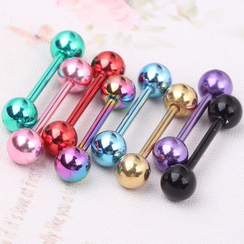 4 Pairs Tongue Bar Nipple Bar Barbell Ball Body Piercing Ring 14g 6-16mm Steel