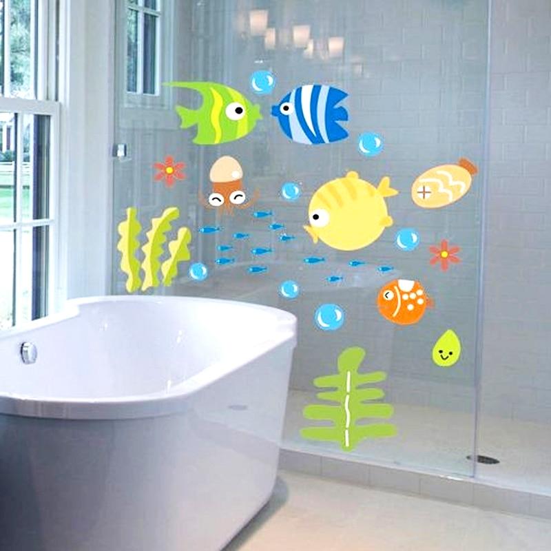 Bubbles Fish Wall Decals Kid Baby Room Bathroom Wall Sticker Nursery Cartoon Ocean Animal Waterproof PVC Home DIY Decoration