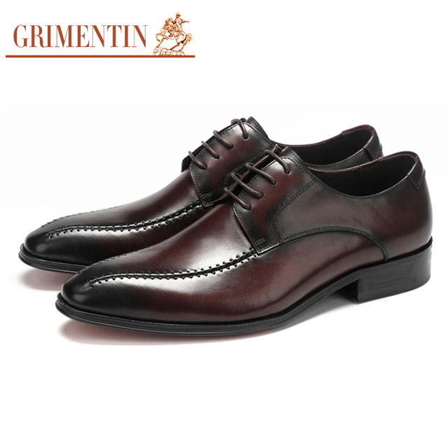 bc22597a6f60 GRIMENTIN Men Italian derby Shoes 2018 Genuine Leather Black Brown lace up Formal  dress Shoes For Business Wedding