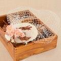 Мода Европейский Бренд Невесты Шнурка Veil Hat Чародей Зажим Для Волос Свадьба Sinamay Шпильки Женщины Коктейль Аксессуары Для Волос