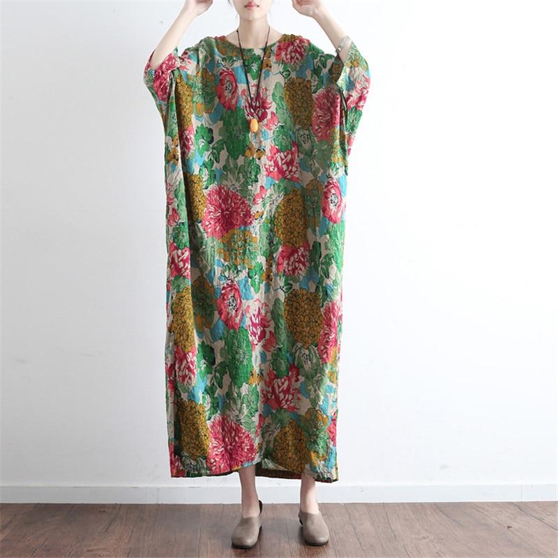 SCUWLINEN Vestidos 2019 Ljetna haljina Vintage Ispis O-neck ogrtač - Ženska odjeća - Foto 3