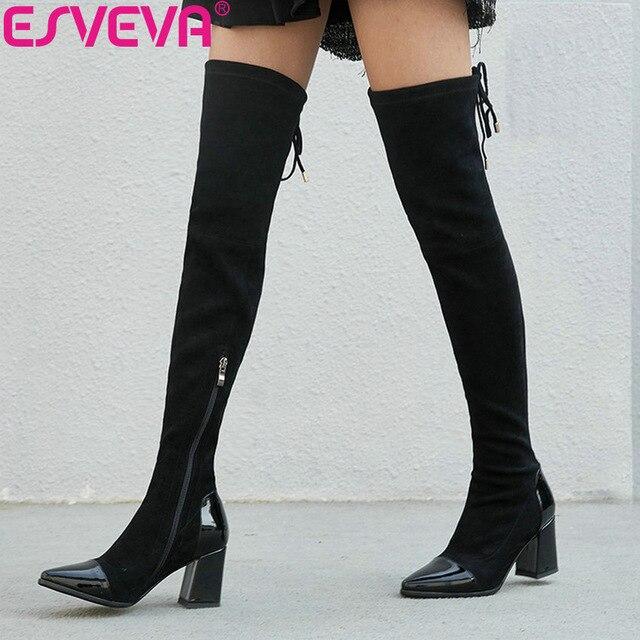 b05d12fc4f580 Patchwork Femmes Noir Zip Genou 34 Talons Automne Bottes 2019 Le Dame  Chaussures Esveva Taille Pointu 42 ...
