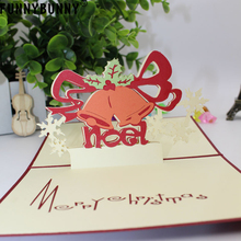 FUNNYBUNNY Christmas 3D Stereo Ringing Bell Greeting Cards Gifts