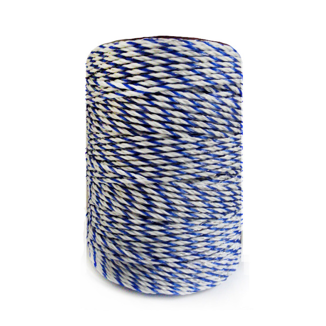 Electric Fence Poly Wire White Blue Polywire With Steel Rope For Horse Fencing Ultra