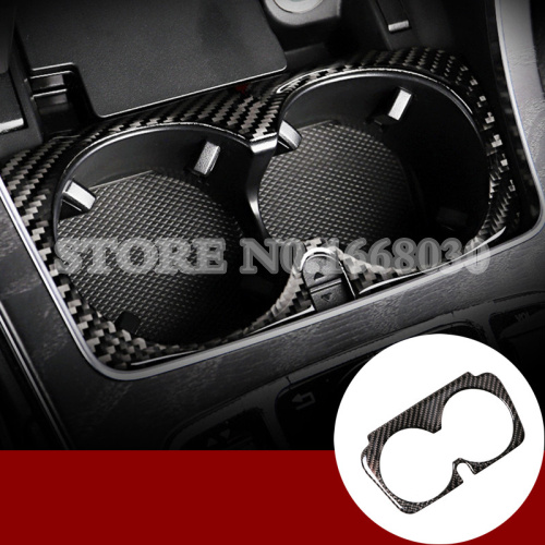 Carbon Fiber Water Cup Holder Cover Trim  For Benz C Class W205 S205 2014-2018 1pcs