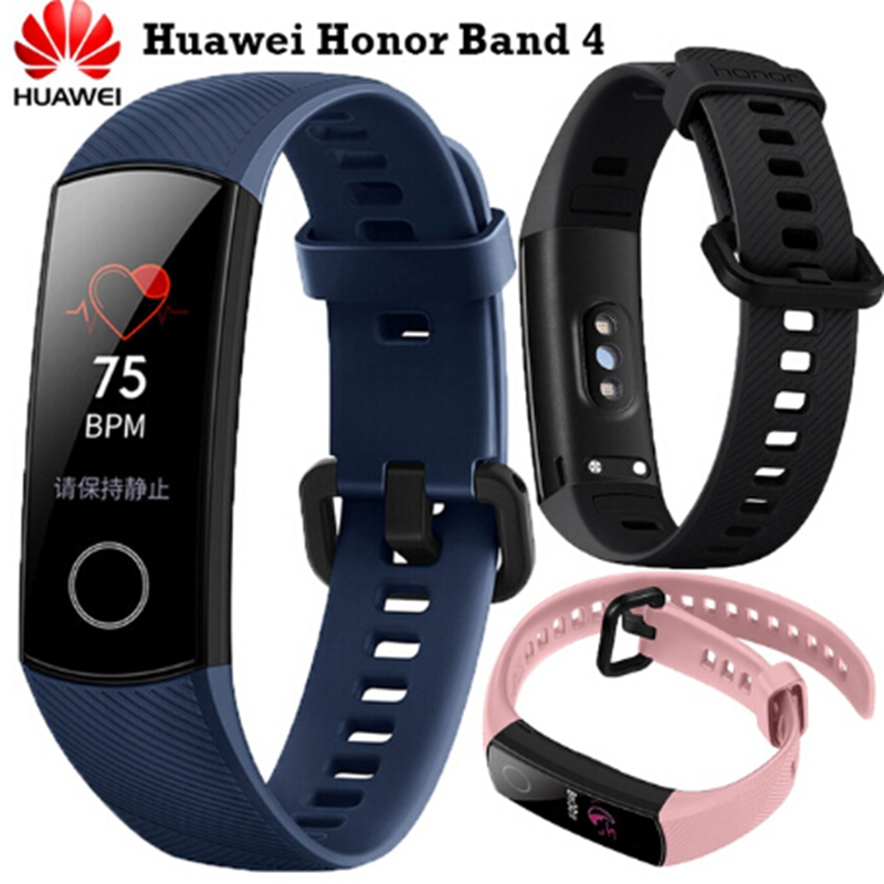 Новейший фитнес браслет оригинальный huawei Honor Band 4 умный Браслет Amoled цвет 0,95 сенсорный экран плавание осанка Обнаружение сна кнопки