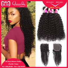 hot deal buy queenlike hair products 3 4 bundles human hair bundles with closure non remy weave brazilian kinky curly bundles with closure