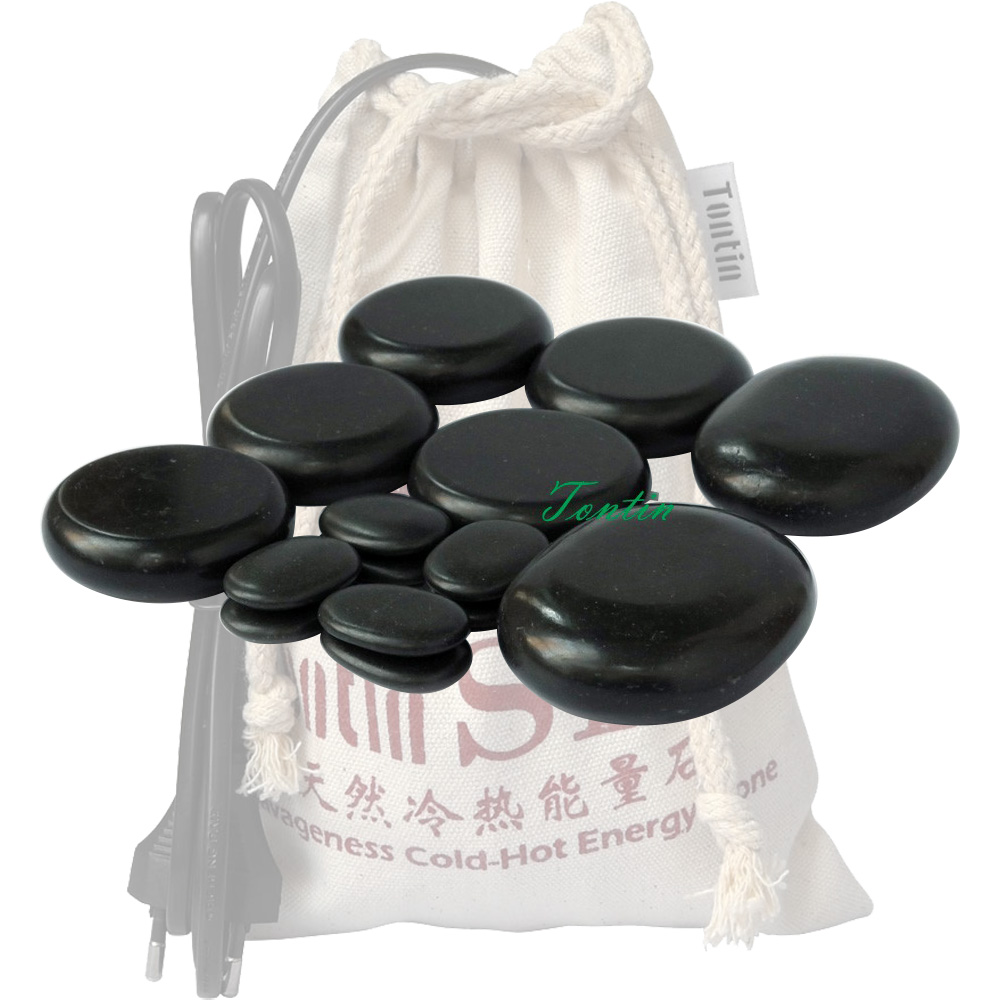 New! TONTIN Hot Massage Energy Body Stone set Salon SPA with Thick Canvas Heating Bag CE and ROHS 15 pcs per set  New! TONTIN Hot Massage Energy Body Stone set Salon SPA with Thick Canvas Heating Bag CE and ROHS 15 pcs per set