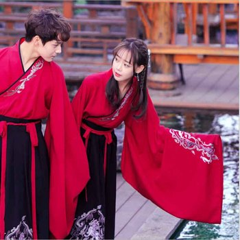 Hanfu Women Chinese Ancient Traditional Fantasia Adult Couples Carnival Cosplay Costume Fancy Dress For Men/Women Plus Size 2XL couples hanfu chinese tradition fantasia adult cosplay costume carnival party costume hanfu dress white for men