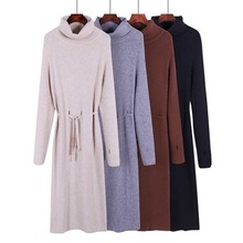 Thumb Hole autumn winter Women turtleneck long Sweater dress robe Knitted Sweaters Drawstring Femme Lace Up Loose  Dress